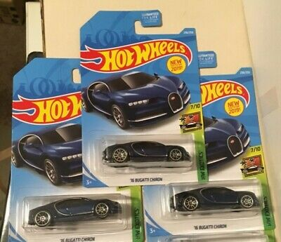 2019 Hot Wheels HW Exotics '16 Bugatti Chiron. Lot of 3 New! Very Hard To Find!