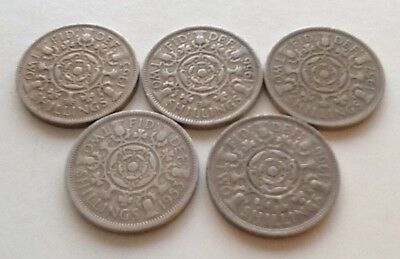 Five Queen Elizabeth II Florins/Two Shilling Coins  1953 - 1966  Good Circulated
