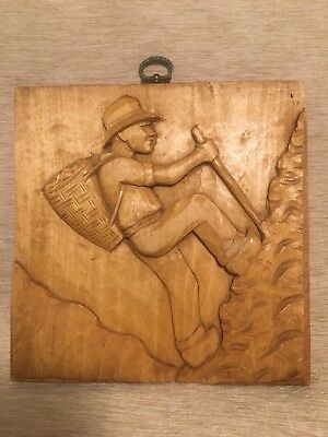 Wooden Carving Wall Decoration Man Climbing Mountain