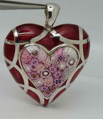 Stunning Large Sterling Silver Murano Glass Millefiori Heart Pendant by Alan K
