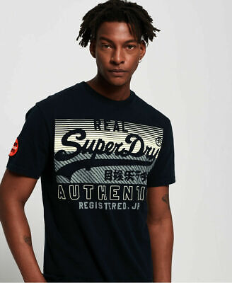 New Mens Superdry Vintage Logo Reactive Classic Box Fit T-Shirt Eclipse Navy