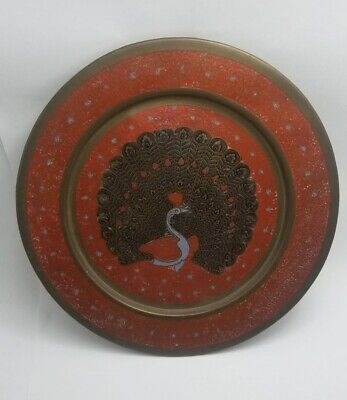 Antiques Vintage Copper Tray Hand Painted Peacock For Decorative Art Traditional