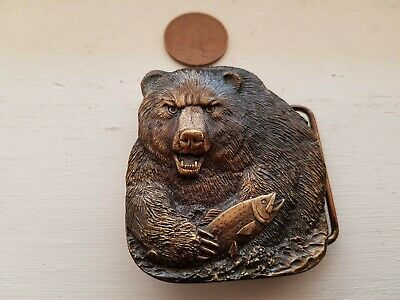 Brass Buckle Grizzly Bear Salmon Western Cowboy Us Made Bergamot Foundry Vintage