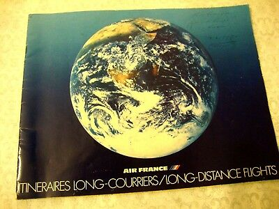 AIR FRANCE AIRBUS A300 ITINERAIRES LONG COURRIERS MAP ROUTES.... sales brochure.
