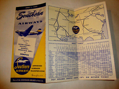 SOUTHERN AIRWAYS TIMETABLE 1955. one of the scheduled airlines of the U.S.