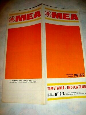MEA Middle East Airlines LIBANON TIMETABLE 1971-1972.