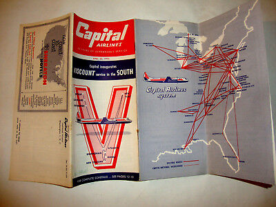 Capital Airlines Timetable 1956.