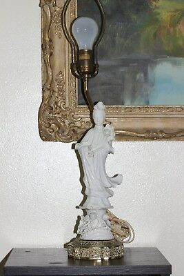 Antique Chinese Blanc De Chine Porcelain Guan Yin Goddess Statue Lamp Marked!