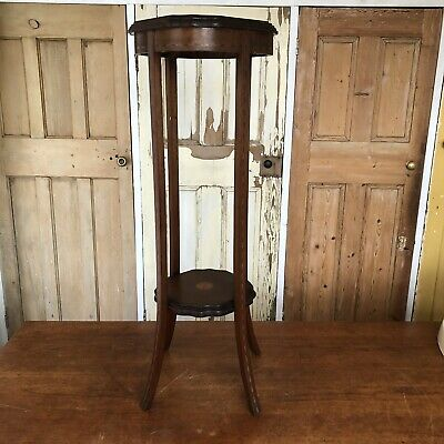 Antique Edwardian Inlaid Mahogany 2 Tier Plant Stand Torchere Jardiniere