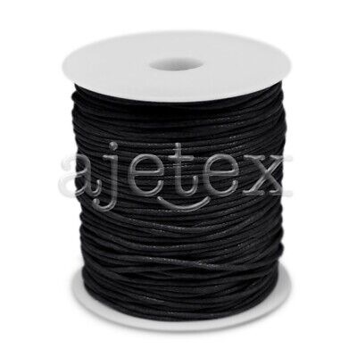 1 Roll 70M Waxed Cotton Cord Jewellery Craft Beading Thread Thong 1.5mm Black