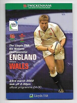 England V Wales 6 Nations Rugby Union Programme 2002
