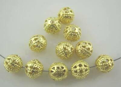 100 x Gold Plated Ornate Filigree Spacer Beads size 6mm