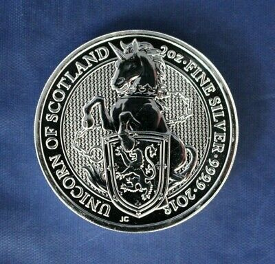"2018 Royal Mint 2oz Silver £5 coin ""Unicorn of Scotland"""