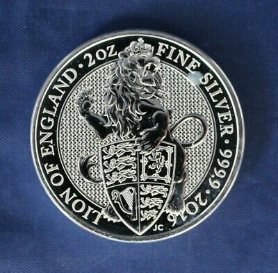 "2016 Royal Mint 2oz Silver £5 coin ""Lion of England"""