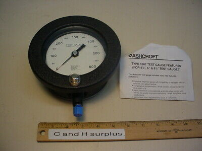 Ashcroft Type 1082 test gauge 0-600 psi 41/2""