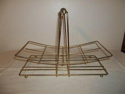 Vintage Gold Metal Mid Century Modern Drinking Glass Holder Caddy for 8 Glasses