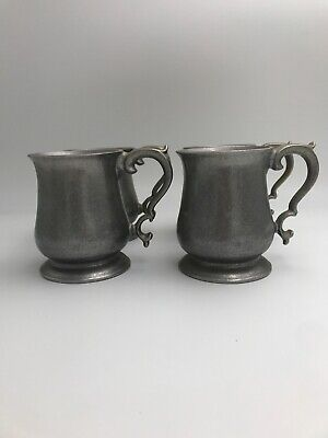 4 Vintage Pewter Metal Crown-Castle USA Tankard Mugs