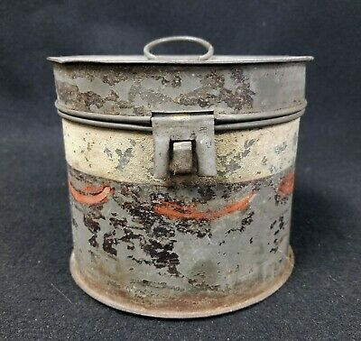 Antique Round Hinged Tin Box Shows Signs of Old Paint