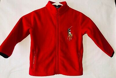 Toddler Baby 3t Polo Ralph Lauren Polar Fleece Big Horse Logo Zip Up Jacket WARM