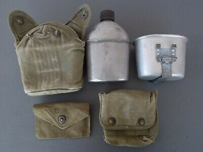 Vntg WWII 1943/44 Canteen(Vollrath)&Cover w/ Rolled Rim Cup (AE Co) + 2 Pouches