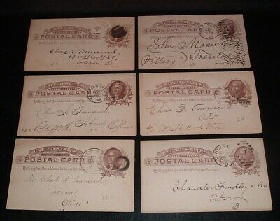 LQQK 6 antique 1880s U.S. LETTER POSTAL CARDS, ny., ohio, va.