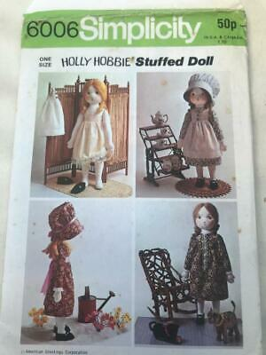 Simplicity Pattern 6006 Holly Hobbie Rag Doll & Clothes + Transfer Uncut