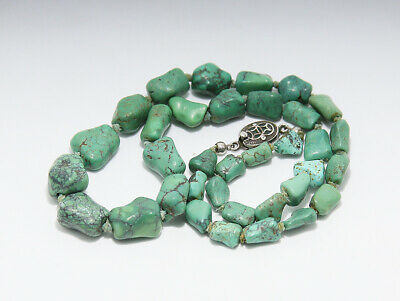 Antique Chinese Silver Clasp Knotted Turquoise Necklace