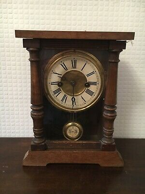 Vintage Wooden H.A.C 1 Day Strike Pendulum Clock Made in Wurttemberg