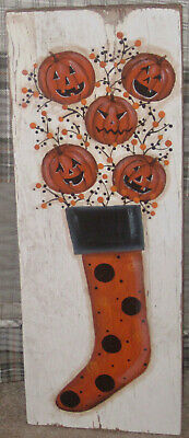 *~*Primitive*~* Hp Folk Art Halloween Stocking * Jack-O-Lantern * Reclaimed Wood
