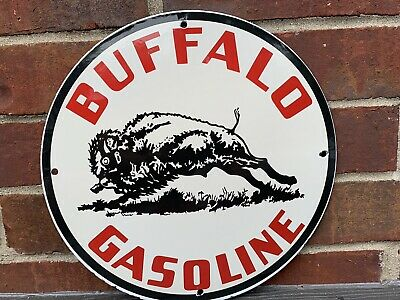 12in BUFFALO GASOLINE PORCELAIN ENAMEL SIGN OIL GAS PUMP PLATE