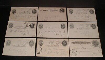 LQQK 9 antique 1906 U.S. LETTER POSTAL CARDS, ks. oh.,pa