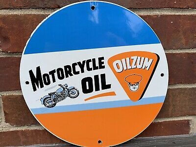 12in Oilzum MOTORCYCLE OIL PORCELAIN  ENAMEL SIGN OIL GAS PUMP PLATE GASOLINE