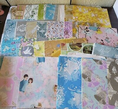 Huge Lot Vtg Gift Wrap Wrapping Paper Craft Scrapbook Wedding Showers 3.5 Lbs