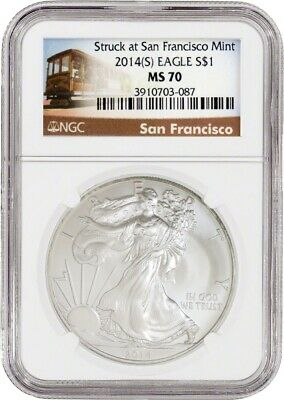 2014 (S) $1 Silver American Eagle NGC MS70 San Francisco Trolley Label
