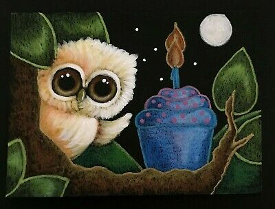 Aceo Original Tiny Blondie Golden Owl - Happy Birthday Cupcake Painting By Cyra