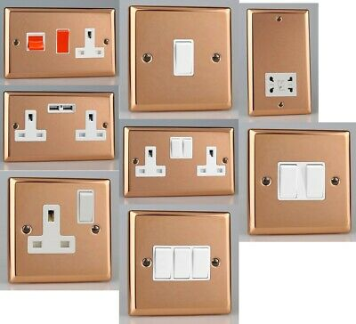 Varilight Switches Lights Sockets Stainless Steel Copper Mirror Finish White Ins