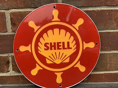 12in SHELL MARINE GASOLINE PORCELAIN ENAMEL SIGN OIL GAS PUMP PLATE