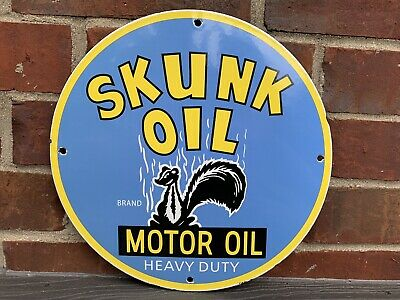 12in SKUNK Motor OIL PORCELAIN ENAMEL SIGN OIL GAS Gasoline  PUMP PLATE