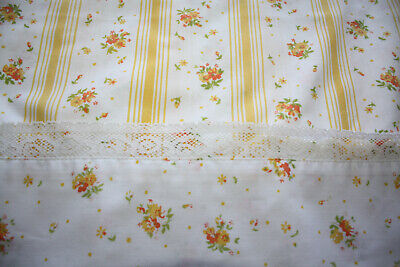 2 Vintage SPRINGMAID WONDERCALE Yellow Roses Lace Trim PILLOWCASES - KING Pair
