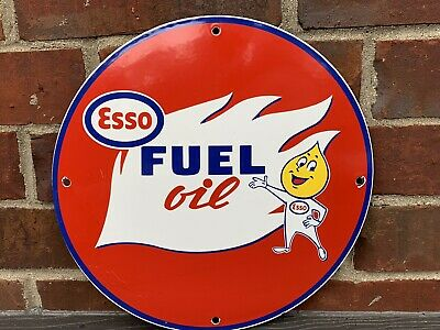 12in ESSO MOTOR FUEL GASOLINE PORCELAIN ENAMEL SIGN OIL GAS PUMP PLATE