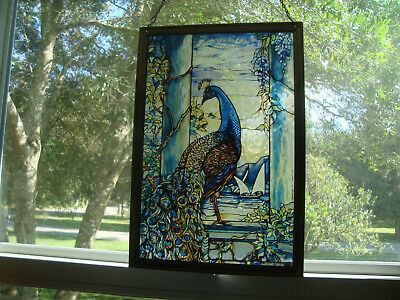 Louis Tiffany Glassmaster Peacock Stained Glass Sun Catcher BEAUTIFUL