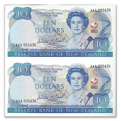 New Zealand 1990 150th Anniversary $10 Banknotes Uncut Pair UNC Prefix AAA P176