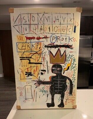 """Jean Michel Basquiat Title """"With Strings Two 1983"""" Graffiti Art Canvas Painting"""