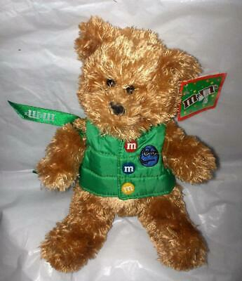 """MWT m&m's Collectible 10"""" Plush Stuffed Teddy Bear with GREEN m&m's Vest Galerie"""