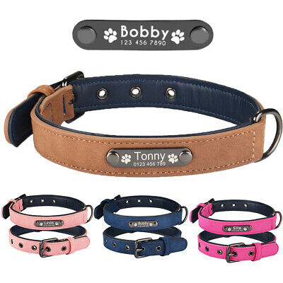 Soft Leather Personalized Dog Collar Free Engraved Small Large Pet Dogs Name Tag