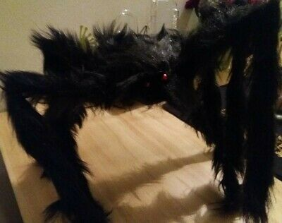 2' Black Hairy Spider Huge Giant Halloween Haunt Prop Decoration