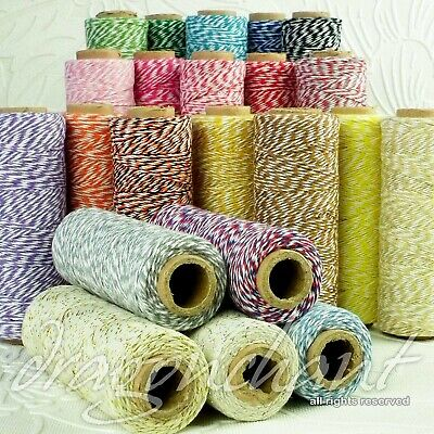 CLEARANCE! 4ply Cotton Bakers Twine 10M 1mm String in 38 divine colours