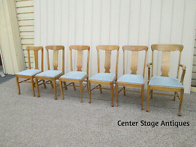 59059  6 Antique Victorian Solid Oak Dining Chair s Chairs