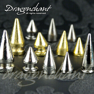 SOLID METAL SCREW FIX SPIKE STUDs BULLET CONE Punk Leather Craft Rivets