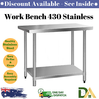 Commercial Work Bench 430 Stainless Steel Home Table Kitchen Cafe Table Workshop